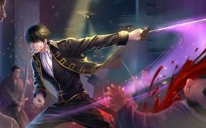 Picture sword, anime, art, guy, Gintama, Hijikata Toushirou