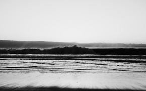 Picture sand, sea, wave, the ocean, black & white, shore, surf, black and white