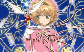 Wallpaper Sakura - collector cards, Card Captor Sakura, anime, angel, wings, pentagram, look, girl