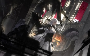 Picture girls, Windows, feathers, Church, flags, cloak, white hair, bench, Pixiv Fantasia