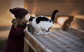 Wallpaper kiss, friendship, girl, kitty, friends, curls, cap, curls