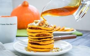 Picture honey, pancakes, pumpkin
