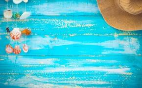 Picture sand, beach, background, Board, hat, shell, summer, beach, wood, sand, marine, seashells