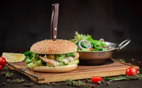 Picture knife, vegetables, hamburger, salad, filling