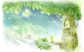 Wallpaper magic, children's, house, tree, art