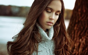Picture girl, face, mood, hair, portrait, sweater, closed eyes