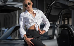 Picture car, girl, sexy, Model, long hair, photo, ponytail, lips, face, blonde, necklace, shirt, skirt, sunglasses, …