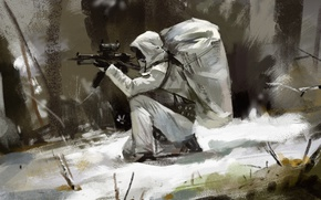 Picture winter, snow, soldiers, machine, hood, camouflage