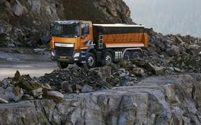 Picture orange, tent, body, breed, DAF, DAF, quarry, dump truck, 8x4, Euro6, DAF CF 460 FAD