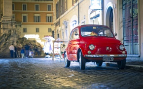 Picture lights, red, road, auto, Italy, night, people, Rome, buildings, Fiat 500, vintage car, pavement, classic …