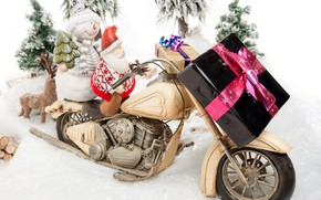 Picture holiday, gift, toys, new year, motorcycle, snowman, decoration, Santa Claus