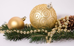 Picture gold, holiday, toys, New year, beads, decoration, decor, spruce branch