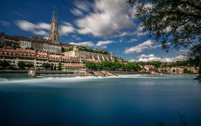 Picture river, building, tower, Switzerland, Switzerland, Bern, Bern, Aare River, Aare River, Bern Minster, Berne Cathedral