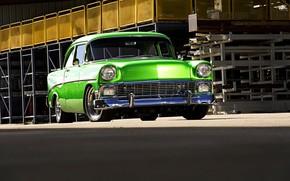Picture green, Chevrolet, Bel Air, 1956, retro car