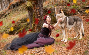 Picture girl, nature, wolf
