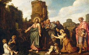 Picture tree, oil, picture, mythology, Peter And Pieter Lastman, Christ and the Woman of Canaan