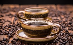 Picture table, coffee, Cup, grain, bokeh