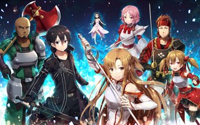 Wallpaper guys, characters, Sword Ard Online, girls