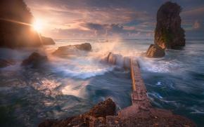 Picture sea, wave, the sun, light, sclale