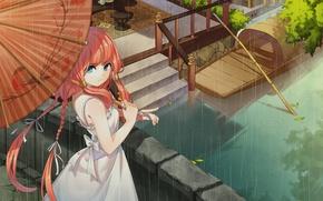 Picture girl, bridge, rain, boat, umbrella, ladder, channel, braids, red, blue eyes, white dress