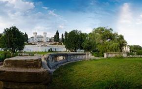 Picture the sky, clouds, trees, Park, Ukraine, Sharivka, estate Koenig