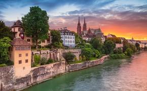 Wallpaper Switzerland, Aeschenpl, Switzerland, Basel, the Rhine river, home, Basel, Rhine River, building, river, sunset