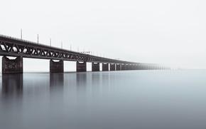 Picture water, bridge, surface, river, haze
