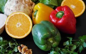Picture greens, Vegetables, citrus, cuts