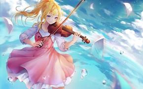 Wallpaper look, anime, girl, violin, Shigatsu wa Kimi no Uso
