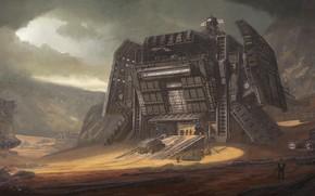 Wallpaper Desert Outpost, construction, mountains, transport