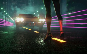 Wallpaper Synthpop, Synth, Retrowave, Electronic, Darkwave, Auto, Lights, Machine, Synth pop, Synthwave, Neon, Sinti, Synth-pop, JohnLeePee, ...