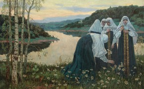 Picture lake, oil, chamomile, Canvas, The girls on the beach, Mikhail NESTEROV