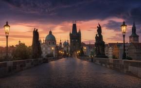 Picture the sky, light, bridge, the city, lights, the evening, morning, Prague