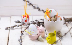 Wallpaper spring, branches, decoration, Verba, wood, Easter, Easter, eggs, the painted eggs, spring, Happy, flowers