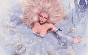 Wallpaper castle, dress, tale, face, Princess, girl, hair