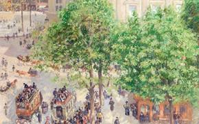 Wallpaper picture, the urban landscape, Camille Pissarro, Jacob Abraham Camille Pissarro, Place du Theatre Francaise. Spring