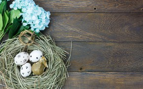 Picture flowers, eggs, spring, Easter, hay, wood, flowers, spring, Easter, eggs, decoration, Happy