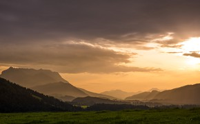 Picture the sky, mountains, morning, panorama
