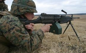 Wallpaper USMC, M249, light machine gun