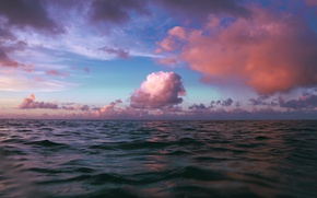 Picture sea, the sky, water, clouds, sunset