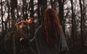 Picture grass, girl, fire, red, long hair, dry, burns
