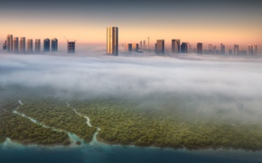 Picture light, the city, fog, building, morning, Kuwait