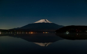 Wallpaper the volcano, the sky, reflection, stars, mountain