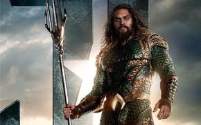 Wallpaper seifuku, film, armor, Arthur Curry, weapon, uniform, Jason Momoa, Aquaman, trident, movie, Justice League, king, ...