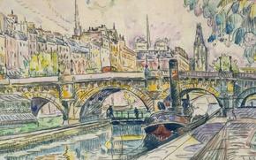 Picture Tugboat at the Pont Neuf. Paris, watercolor, Paul Signac, the urban landscape, figure