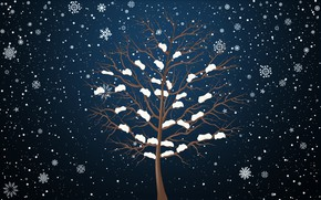 Picture Winter, Minimalism, Tree, Snow, Snowflakes, Background