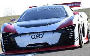 Picture Audi, racing car, front view, racing track, 2018, Gran Turismo, E-Tron Vision