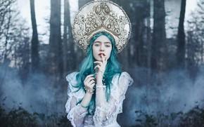 Picture forest, look, girl, style, mood, hands, blue hair, kokoshnik, Bella Kotak