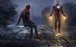 Picture trees, night, river, fiction, figure, art, Iron man, Iron Man, comic, piers, MARVEL, Spider-Man, Tony …