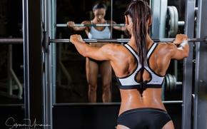 Picture brunette, female, mirror, fitness